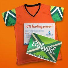 bedankkaart achterhoeks oranje t-shirt