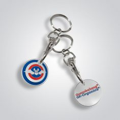 sleutelhanger met logo op winkelwagenmuntje